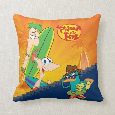 Phineas, Ferb and Agent P Surf Throw Pillow