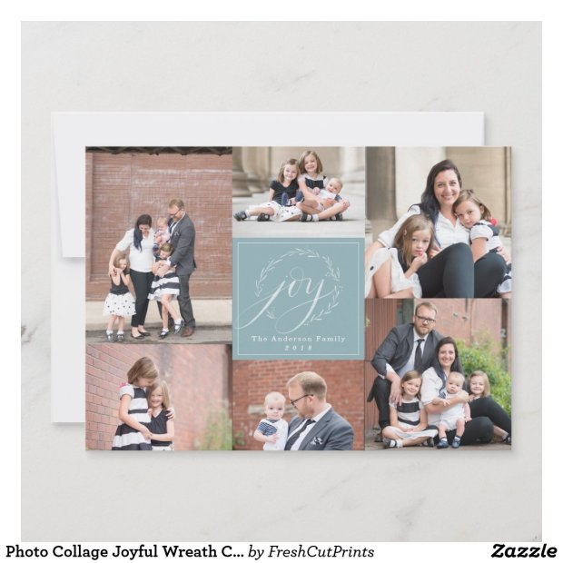 Photo Collage Joyful Wreath Christmas Photo Card