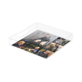 Photo Collage Nursery Organizer Tray Square Serving Trays
