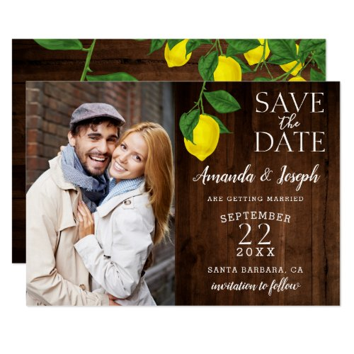 Photo Lemon Rustic Wood Save the Date | Card