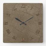Photo Realistic Rustic, Weathered Wood Board II Square Wall Clocks