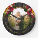 Photo rustic farmhouse Mr and Mrs floral barn wood Large Clock
