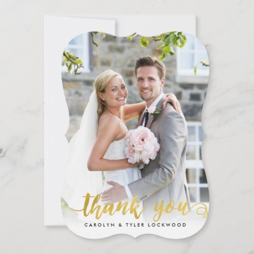 PHOTO THANK YOU handdrawn script gold foil overlay
