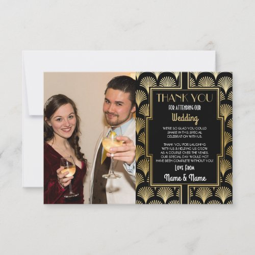 Photo Wedding Thank You Card Engagement 20s Party