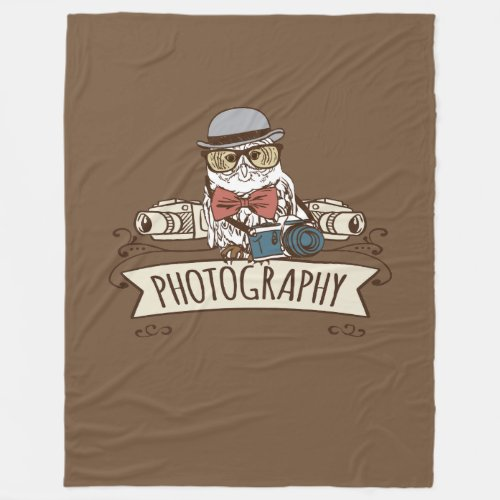 Photographer Owl with Camera Fleece Blanket