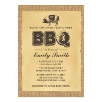 Pig Roast Baby Shower BBQ Party Burlap Card