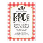 Pig Roast BBQ Birthday Party Red Plaid Invitation