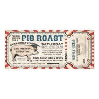 Pig Roast Graduation Invitations w/ Raffle Ticket