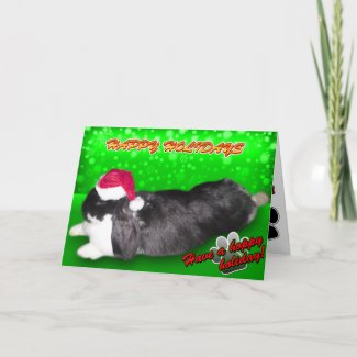 Pika Holiday Santa Hat Rabbit Bunny Card