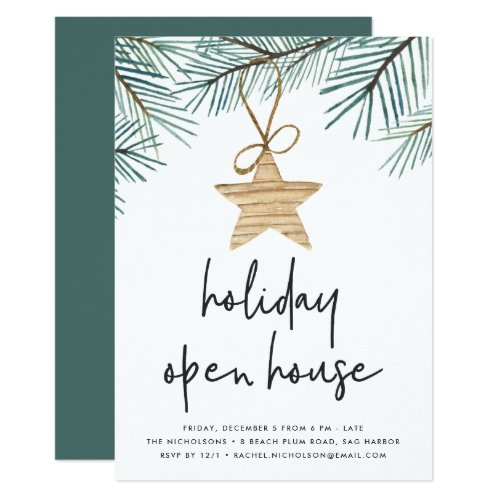Pine Boughs | Holiday Open House Invitation