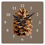 Pine Cone Square Wallclock