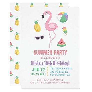 Pineapple Watermelon Flamingo Kids Birthday Party Invitation
