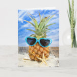 ❤️ pineapple wearing heart sunglasses card