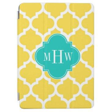 Pineapple Wht Moroccan #5 Teal 3 Initial Monogram iPad Air Cover