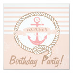 Pink Anchor Stripes Nautical Birthday Invitation