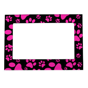 Pink and Black Leopard Print and Paws Personalized Picture Frame Magnets