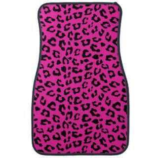 Pink and Black Leopard Print Spots Car Floor Mat