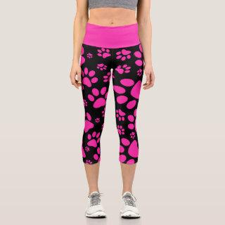 Pink and Black Paw-Prints Capri Leggings