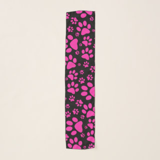 Pink and Black Paw-Prints Scarf