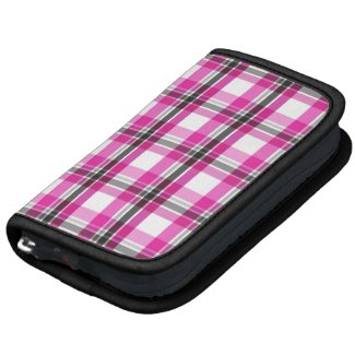Pink and black plaid pattern organizer
