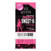 Pink and Black VIP Sweet 16 Ticket Party Custom Invitation