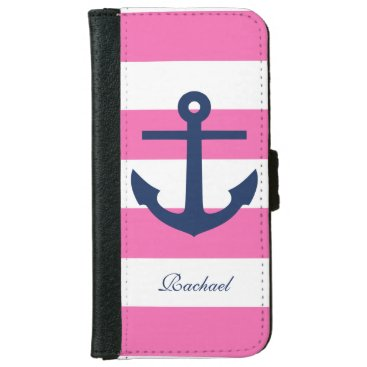 Pink and Blue Anchors Aweigh Wallet Phone Case For iPhone 6/6s