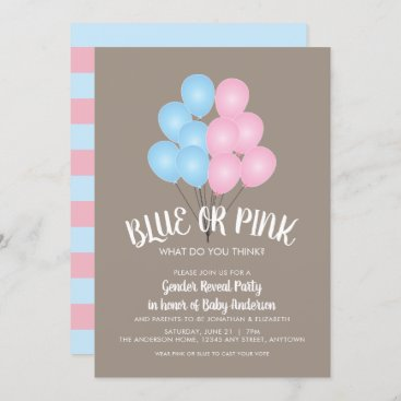 Pink and Blue Balloons Gender Reveal Party Invitation