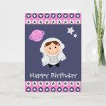 ❤️ Pink &  Blue Stars Spacegirl Birthday Card