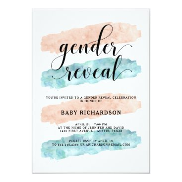 Pink and Blue Watercolor | Gender Reveal Party Invitation