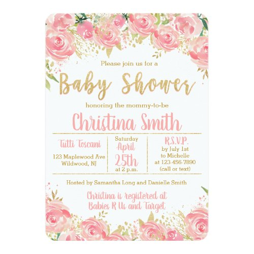Pink and Gold Baby Shower Invitations for Girls