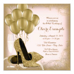 Pink and Gold Glitter Womans Birthday Party Invitation