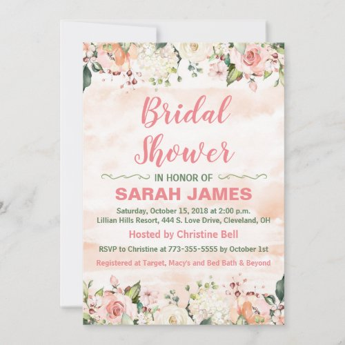 Pink and Green Bridal Shower Invitation