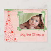 Pink and Green Tree First Christmas Photo Postcard