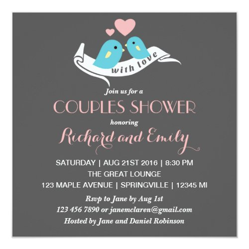 Pink and Grey Lovebirds Couples Shower Invitation