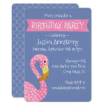 Pink and Purple Flamingo Birthday Invitation