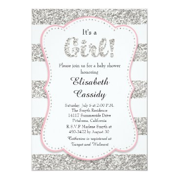 Pink and Silver Glitter Girl Baby Shower Invitatio Invitation