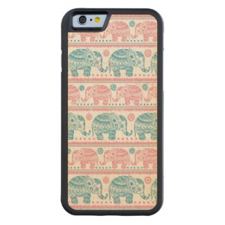 Pink And Teal Elephant Maple iPhone 6 Bumper Case
