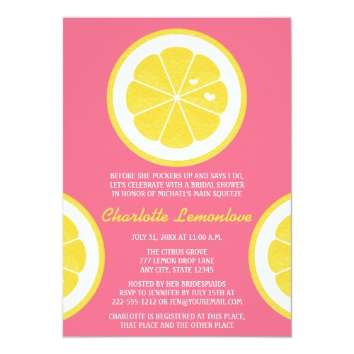 PINK AND YELLOW LEMON THEMED BRIDAL SHOWER CARD
