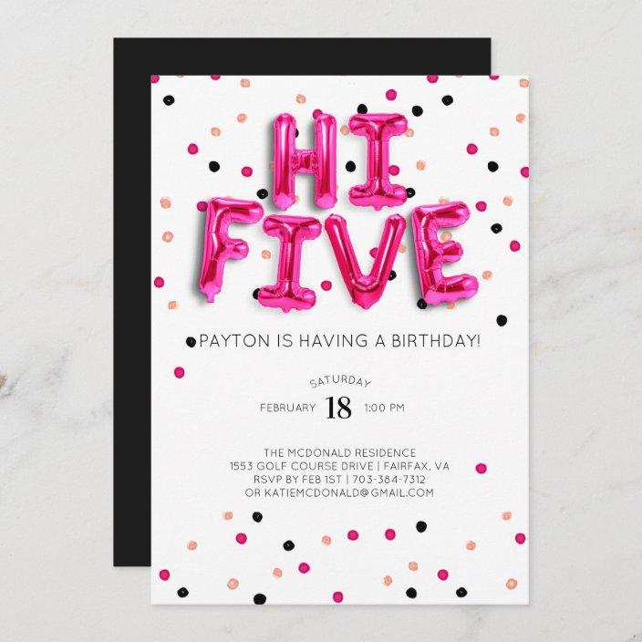pink balloons hi five 5th birthday invitation zazzle com