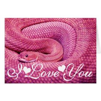 Pink Basilisk Rattlesnake I Love You Greeting Cards