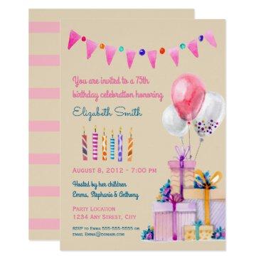 Pink Birthday Watercolor Birthday Party Invitation