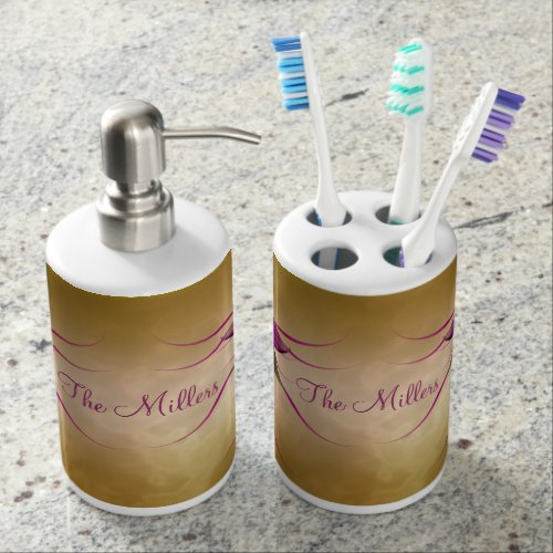Pink Bloom on Gold Personalized Soap Dispenser And Toothbrush Holder