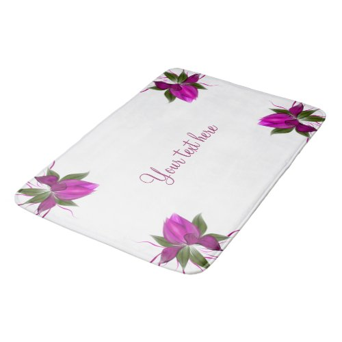 Pink Bloom on White Personalized Bath Mat
