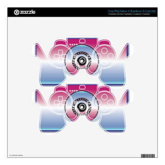 Pink & Blue Abstract Skins For PS3 Controllers