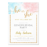 Pink & Blue Watercolor Gold Glitter Gender Reveal Invitation
