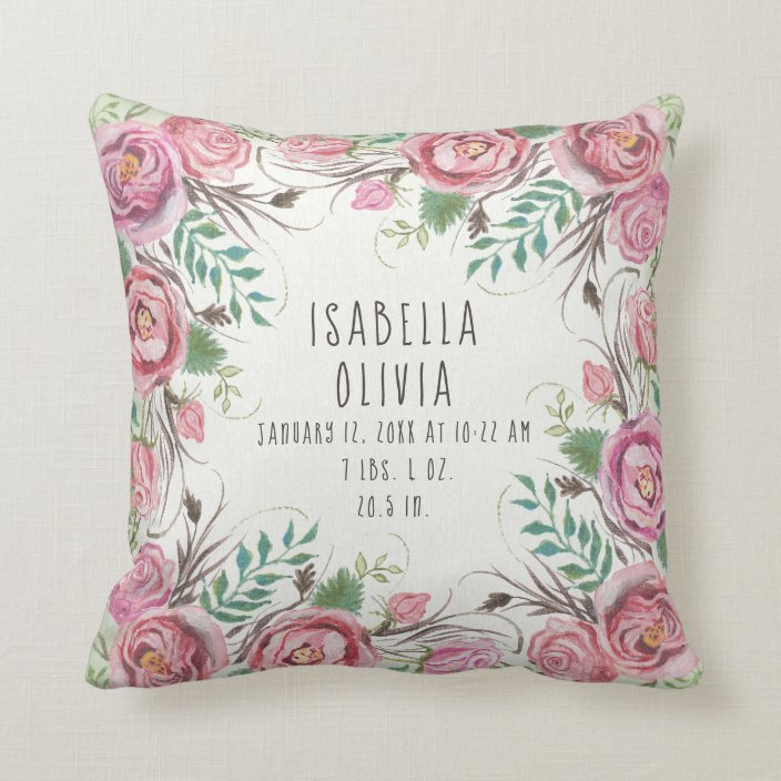 pink boho floral border roses fern baby name stats throw pillow zazzle com