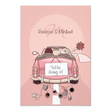 Pink Bride and Groom Getaway Car - RSVP Cards