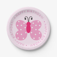 Pink Butterfly Birthday Party Paper Plate