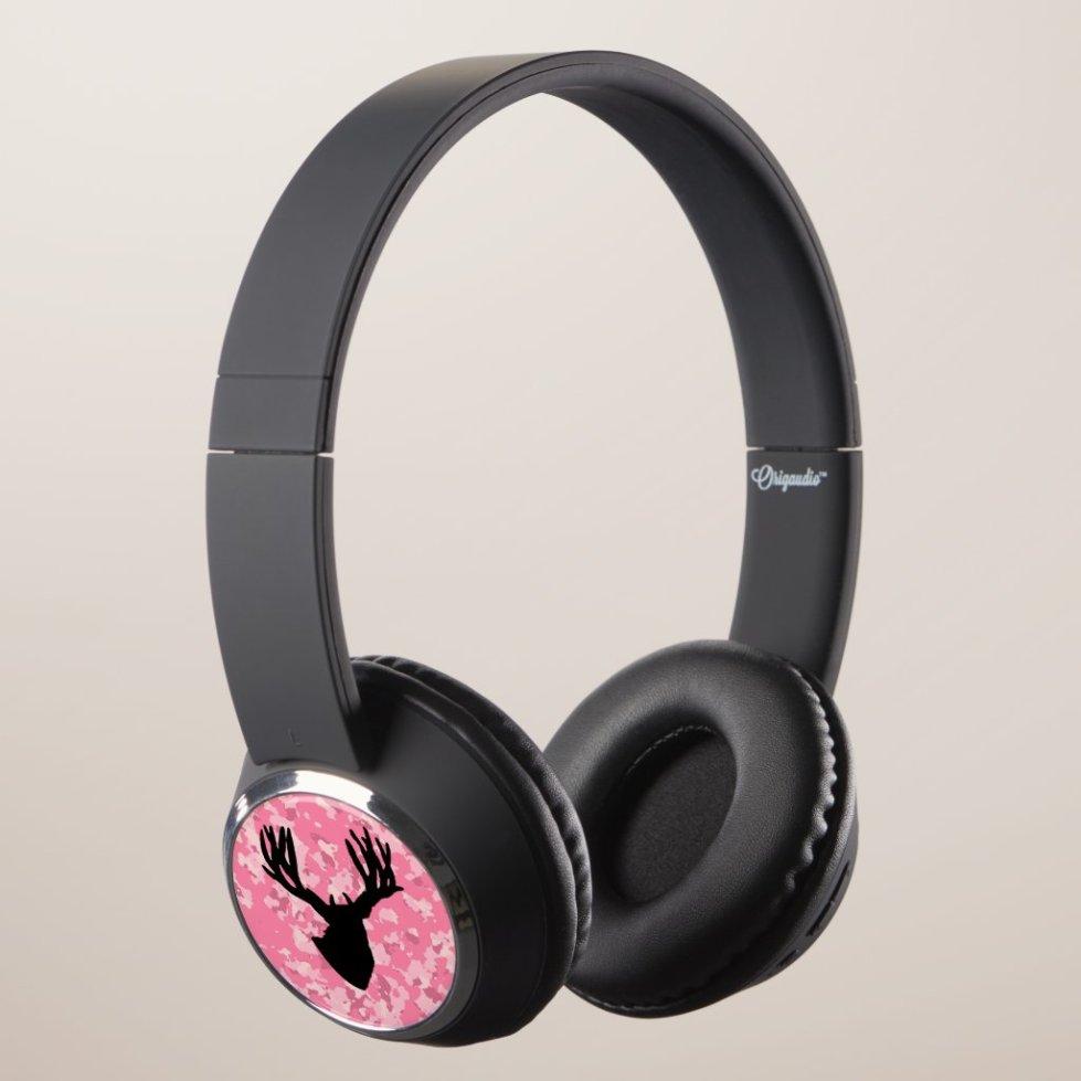 Pink Camo Deer Headphones