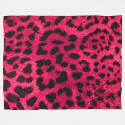 Pink Cheetah Fur Pattern Fleece Blanket
